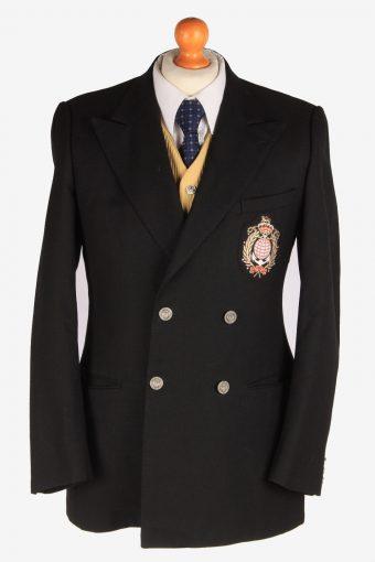 Blazer Jacket Button Up Wool 90s Retro Black S