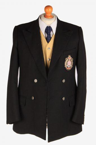 Blazer Jacket Suit Button Up Wool Smart Vintage Size S Black -HT3131-166780