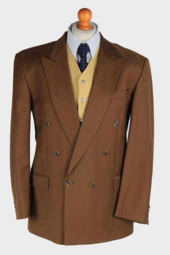 Blazer Jacket Mens Button Up Wool 90s Retro Brown L