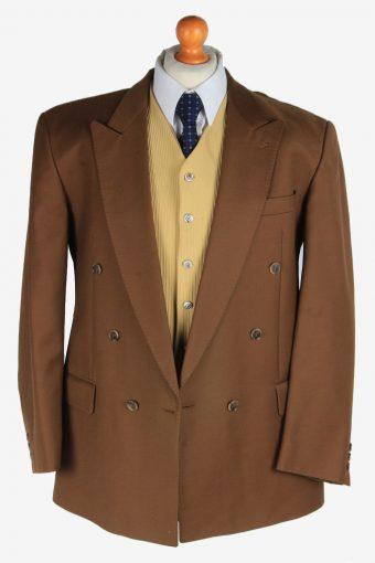 Blazer Jacket Mens Button Up Wool Smart Vintage Size L Brown -HT3132-166786