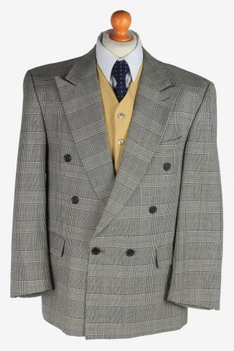 Mens Blazer Jacket Windowpane Wool 90s Retro Grey L
