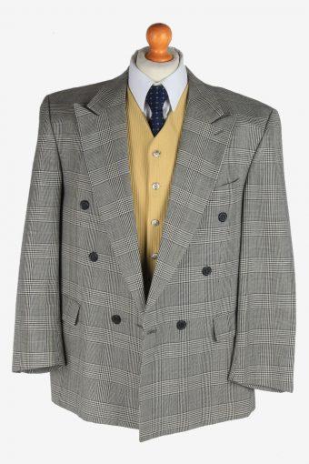 Mens Suit Blazer Jacket Windowpane Wool Country Vintage Size L Grey -HT3134-166798