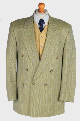 Blazer Jacket Mens Windowpane Wool Button Up XL