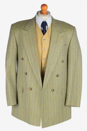 Blazer Jacket Mens Windowpane Wool Country Button Up Vintage Size XL Multi -HT3135-166804