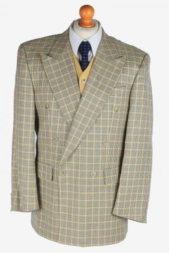 Mens Suit Blazer Jacket Windowpane 90s Retro M