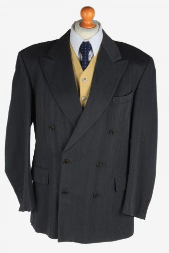 Blazer Jacket Mens Button Up Wool 90s Retro Dark Grey XL