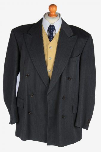 Blazer Jacket Mens Button Up Wool Casual Vintage Size XL Dark Grey -HT3137-166816