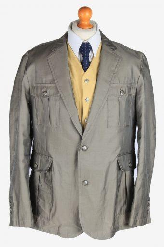 Blazer Jacket Mens Button Up 90s Retro Grey XXL