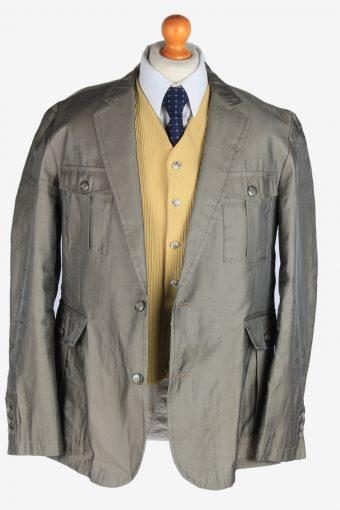 Blazer Jacket Mens Button Up Suit Vintage Size XXL Grey -HT3138-166822