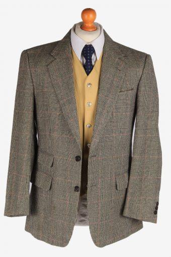 Burberry Mens Wool Blazer Jacket Windowpane Vintage Size M Grey -HT3143-166852