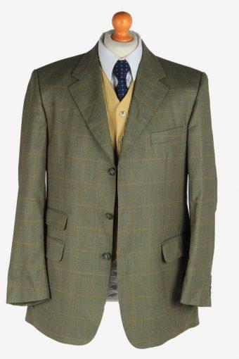 Burberry Mens Wool Blazer Jacket Windowpane Vintage Size L Green -HT3144-166858
