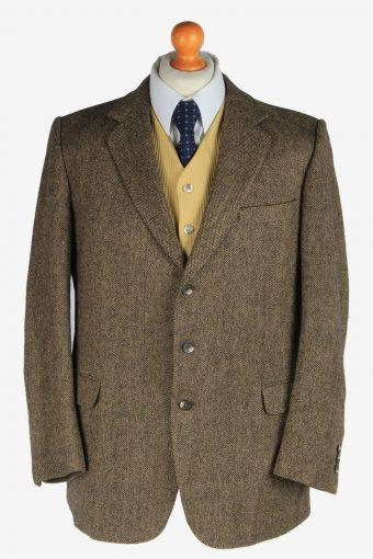 Mens Burberry Tweed Wool Blazer Jacket Herringbone Brown M
