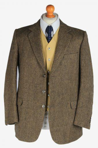 Mens Burberry Tweed Wool Blazer Jacket Herringbone Vintage Size M Brown -HT3150-166894