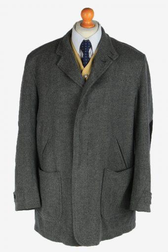 Burberry Tweed Mens Blazer Jacket Coat Elbow Patch Grey XL
