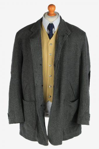 Burberry Tweed Mens Blazer Jacket Coat Elbow Patch Vintage Size XL Grey HT3151-166900