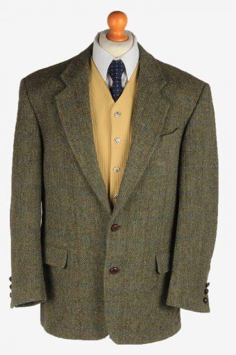 Harris Tweed Blazer Jacket Windowpane Elbow Patch Green L