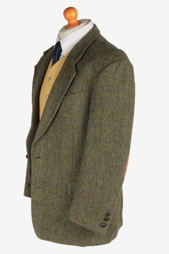 Harris Tweed Mens Blazer Jacket Windowpane Elbow Patch Vintage Size L Green HT3152-166906