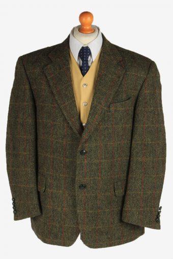 Harris Tweed Blazer Jacket Elbow Patch Dark Green XL