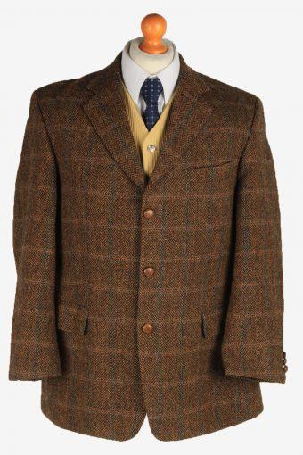 Harris Tweed Blazer Jacket Classic Windowpane Brown L
