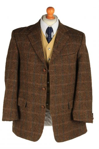 Harris Tweed Mens Blazer Jacket Windowpane Country Vintage Size L Brown HT3154-166918