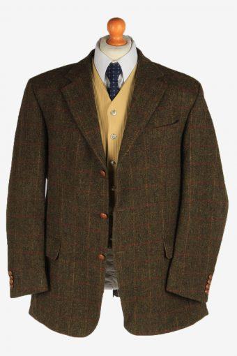 Harris Tweed Mens Blazer Jacket Windowpane Country Vintage Size XL Dark Green HT3155-166924