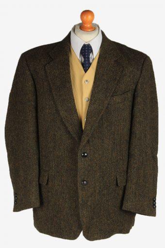 Harris Tweed Blazer Jacket Classic Windowpane Dark Brown L