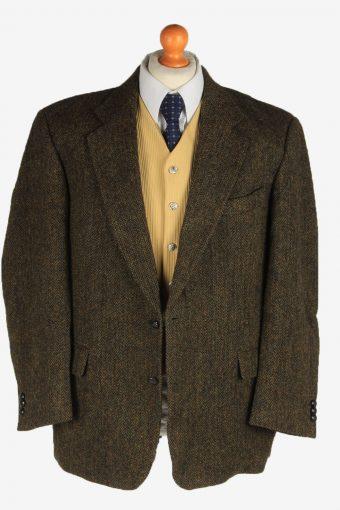 Harris Tweed Mens Blazer Jacket Wool Country Vintage Size L Dark Brown HT3156-166930