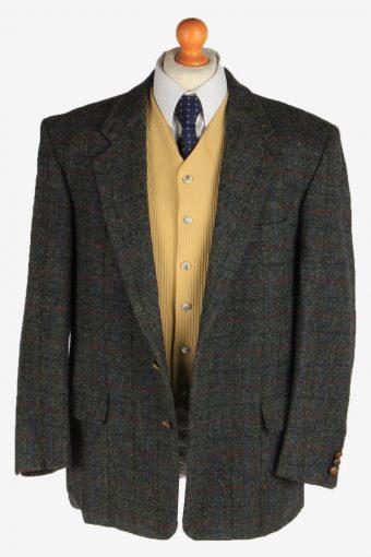 Harris Tweed Mens Blazer Jacket Windowpane Country Vintage Size L Dark Grey HT3159-166948