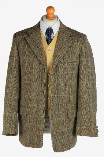 Harris Tweed Mens Blazer Jacket Windowpane Country Vintage Size L Multi HT3162-166966