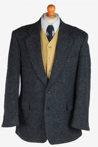 Harris Tweed Blazer Jacket Classic Windowpane Dark Grey L