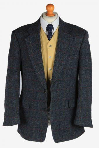 Harris Tweed Mens Blazer Jacket Windowpane Country Vintage Size L Dark Grey HT3163-166972
