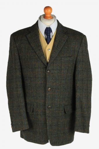 Harris Tweed Blazer Jacket Classic Windowpane Khaki L