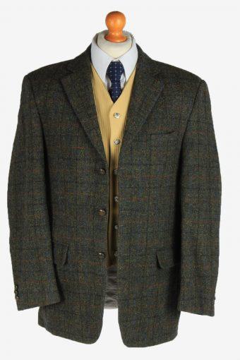 Harris Tweed Mens Blazer Jacket Windowpane Country Vintage Size L Khaki HT3164-166978