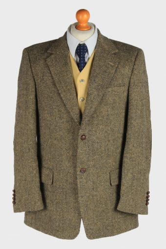 Harris Tweed Blazer Jacket Elbow Patch Brown M