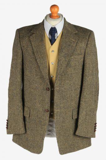 Harris Tweed Mens Blazer Jacket Elbow Patch Country Vintage Size M Brown HT3167-166996