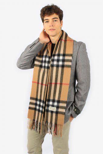 Burberry 100% Cashmere Men's Classic Scarf In Heritage Check Beige