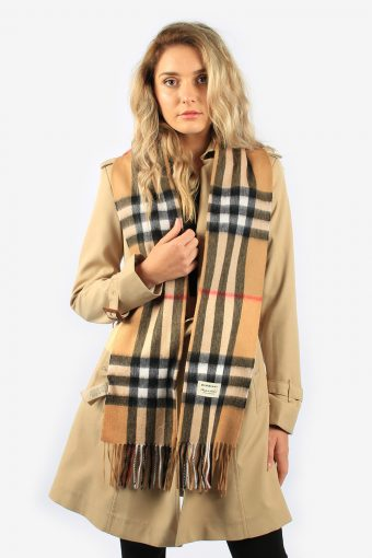 Burberry 100% Cashmere Women's Classic Scarf In Heritage Check Beige