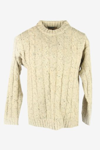 Cable Knit Wool Jumper Vintage Crew Neck Pullover 90s Beige Size M
