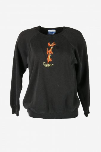 90s Sweatshirt Tigger Printed Vintage Pullover Sports Retro Black Size L