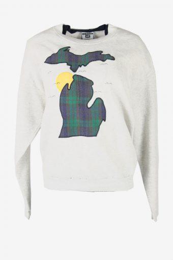 Lee 90s Sweatshirt Printed Vintage Pullover Sports Retro Grey Size L