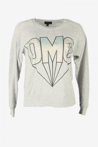 90s Sweatshirt Printed Vintage Pullover Sports Retro Grey Size XS