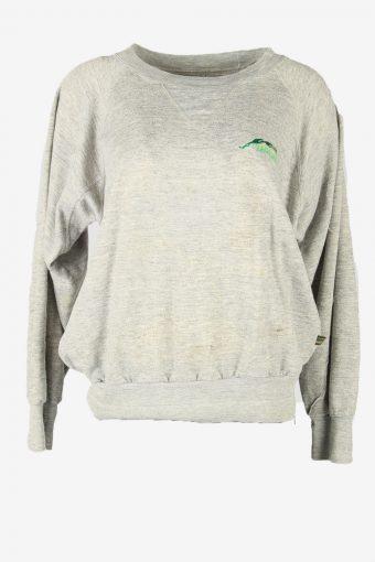 Vintage 90s Sweatshirt Plain Pullover Sports Retro Grey Size XL