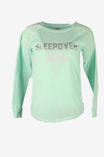 Vintage 90s Sweatshirt Printed Pullover Sports Retro Light Green Size XL