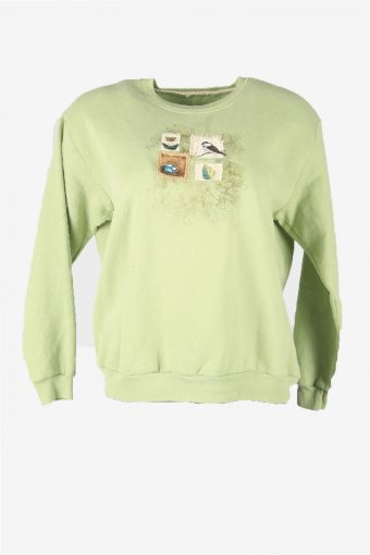 Vintage 90s Sweatshirt Printed Pullover Sports Retro Green Size L