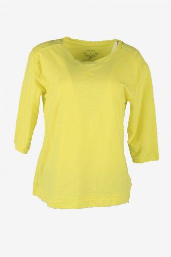 Vintage 90s Sweatshirt Plain Pullover Sports Retro Lemon Size M