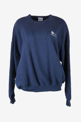 90s Sweatshirt Plain Vintage Pullover Sports Retro Navy Size XXL