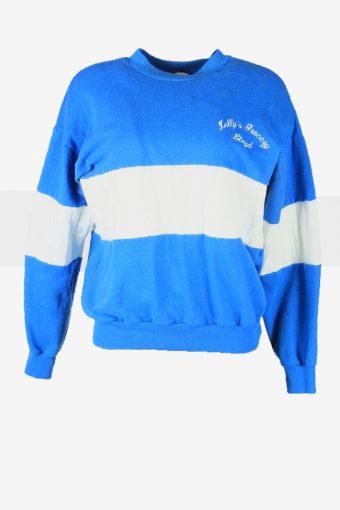 Vintage 90s Sweatshirt Plain Pullover Sports Retro Blue Size L