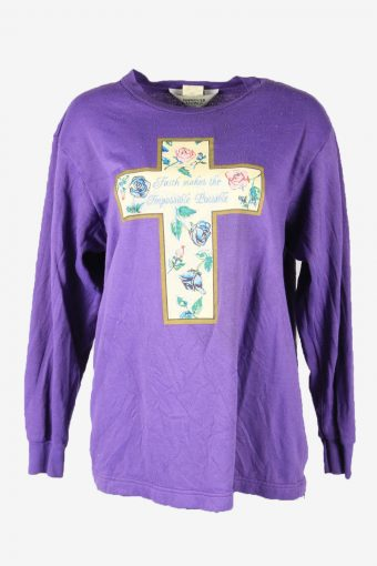 Vintage 90s Sweatshirt Printed Pullover Sports Retro Purple Size L