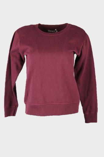 Vintage 90s Sweatshirt Plain Pullover Sports Retro Burgundy Size S