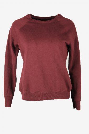 90s Sweatshirt Plain Vintage Pullover Sports Retro Burgundy Size S
